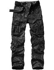 Hellmei Pantalones tácticos para hombre con múltiples bolsillos militares de camuflaje casual pantalones de senderismo pantalones de combate