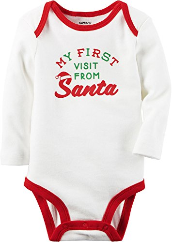 Carter's Unisex Baby Bodysuits, Ivory, 12M (Santa Baby Outfit)