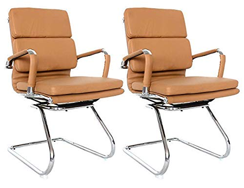 Classic Replica Visitors Chair – Vegan Leather, Thick high Density Foam, Chrome arms with Protective arm Sleeves with Zip Available. Camel