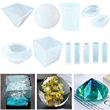 11 Pack Resin Casting Molds JOFAMY Large Clear DIY Silicone Molds for Epoxy Resin Including Spherical, Cubic, Diamond, Pyramid, and Water Drop Shape Mold, with Measurement Cups& Wood Sticks