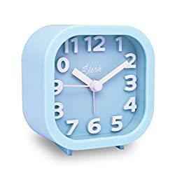 Slash 3D Digital Creative Desk Alarm Clock, Simple Candy Color for Sitting Room, Bedroom, Office, Snooze Function, Non Ticking, Nightlight Function (Blue)