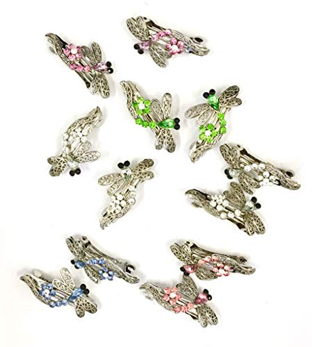 12 Pieces Set Dragonfly Style Crystal Barrette With Silver Color Metal Clip 5 Different Crystal Color