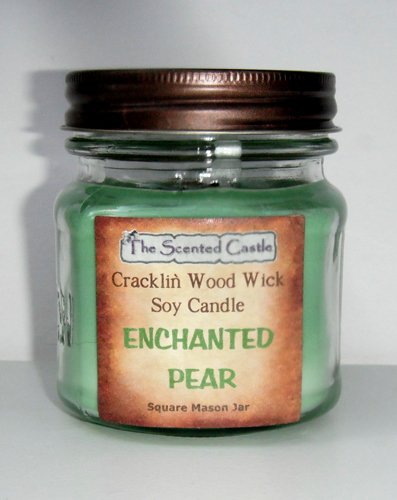 Enchanted Pear Scented Cracklin' Wood Wick Soy Candle - 8oz Square Mason Jar by The Scented Castle