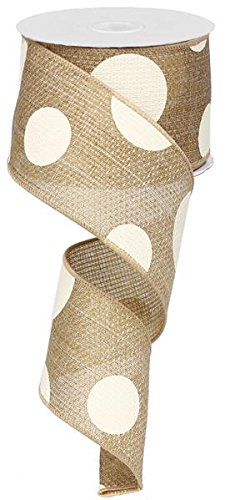 Giant Multi Dots Faux Burlap Wired Edge Ribbon