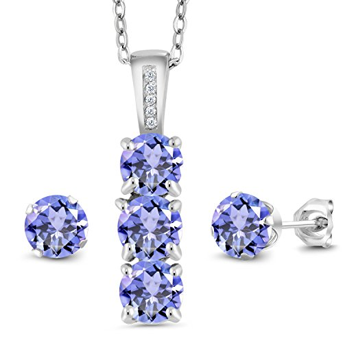 Gem Stone King Blue Tanzanite and White Diamond 925 Sterling Silver Pendant Earrings Set 2.34 Cttw Gemstone Birthstone with 18 Inch Silver Chain