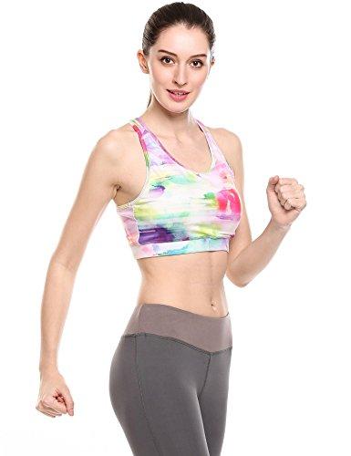 Coorun Mujer Sujetador Bra deportivo estampados impresion para Yoga Fitnss Verde