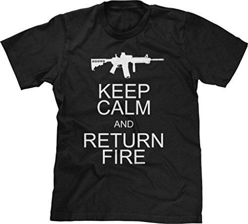 Blittzen Mens T-Shirt Keep Calm Return Fire