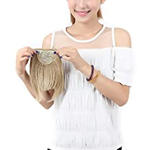 """S-noilite 8""""(20cm) Front Neat Ash Blonde Bangs Clip in Hair Extensions One Piece Striaght Fringe Hairpiece"""