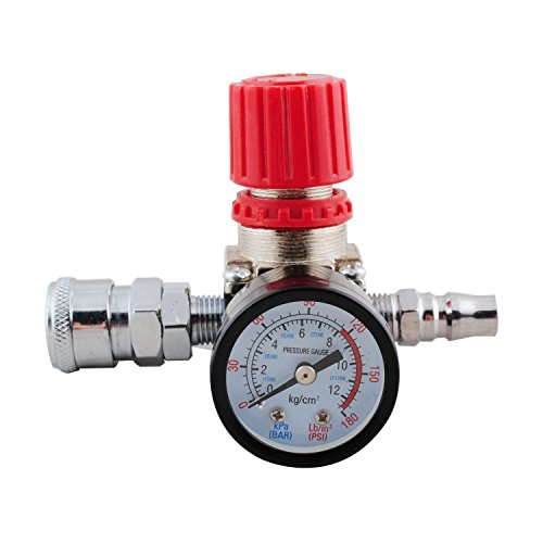 140PSI 1/4 Inch Air Pressure Regulator Relief with Gauge Hos