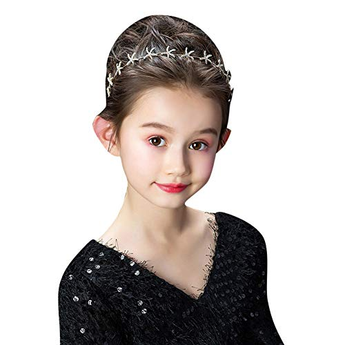 Boutique Baby Girls Headband,PanDaDa Baby Girl Crown Headbands Toddler Princess Headband Hair Accessories Starfish Pattern Girls Wreath Hair Band Forehead Chain for Models,Catwalk - Catwalk Chain