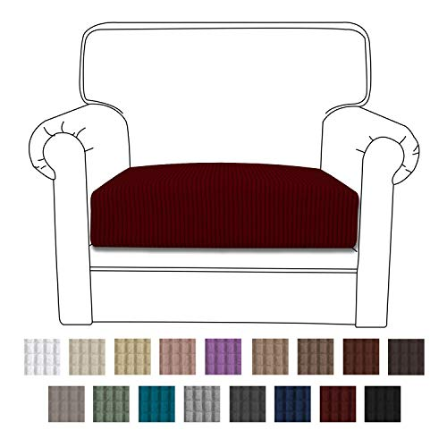 Easy-Going Stretch Cushion Cover Sofa Cushion Furniture Protector Sofa Seat Sofa slipcover Sofa Cover Soft Flexibility with Elastic Bottom(Chair Cushion,Wine) (Sofa Cushion And Covers)