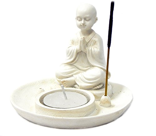 Baby Buddha Incense Burner and Votive Tea light Candle Holder Meditation Figurine