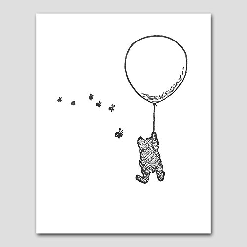 Classic Winnie the Pooh Bear Art Print (Baby Shower, Black White Nursery Wall Decor)