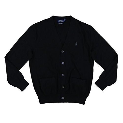 Polo Ralph Lauren Mens Pima Cotton Cardigan Sweater (X-Large, Polo Black)