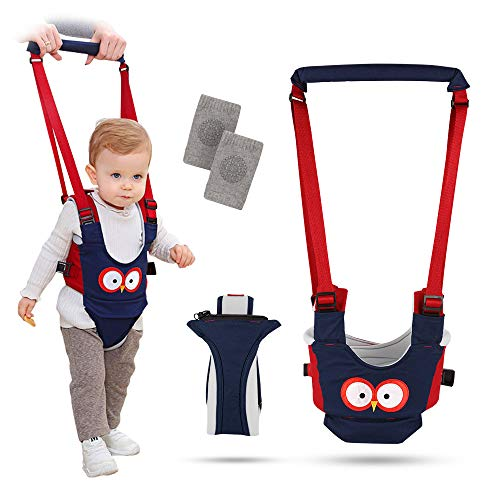 Baby Walking Harness Handheld Baby Walker Toddler Walking Assistant Handle 4 in 1 Functional Pulling & Lifting Dual Use 6-24 Month Breathable Walking Learning Helper with Knee Pads