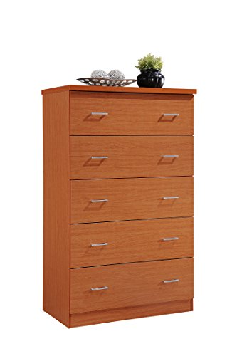 Cherry 10 Drawer Dresser (Hodedah 5 Drawer Jumbo Chest, with Metal Gliding Rails, Cherry)
