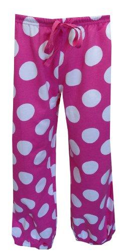 Sweet Women's Pink And White Polka Dot French Terry Capri Sweat Pants (White Polka Dot Capri)