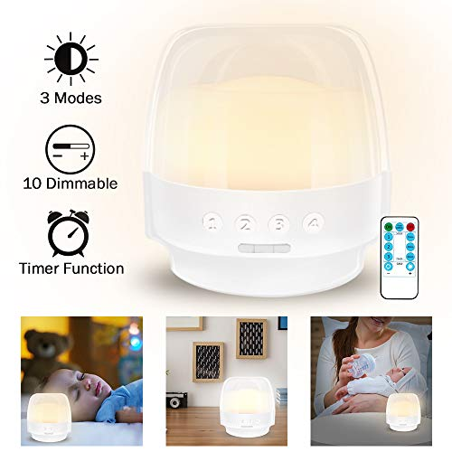 2019 New Bedside Lamp,Rechargeable LED Table Lamp,Dimmable Night Lights with Remote for Bedroom/Home/Nursery/Children/Baby,Timer Setting