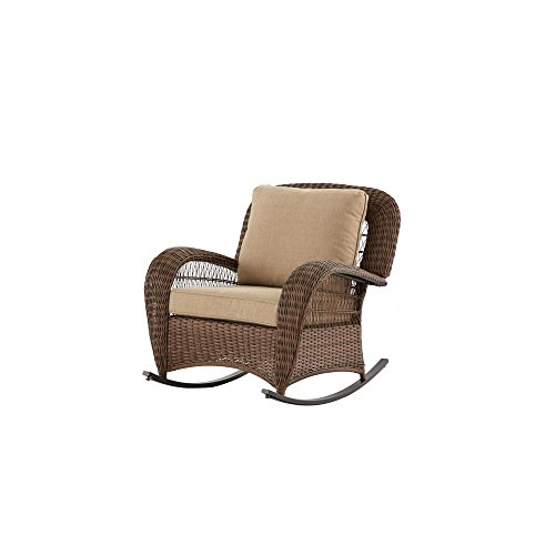 Hampton Bay FRS80812CRW Beacon Park Wicker Outdoor Rocking Chair with Toffee Cushions (Chairs Wicker Outdoor Bay Hampton)