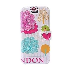 Moda ¨¢rboles colorido patr¨®n de cuero del caso con ranuras de soporte y tarjeta para el iphone 5/5s