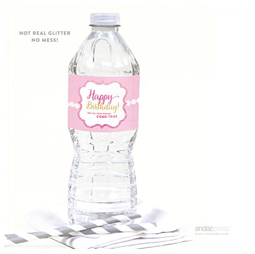 Andaz Press Sparkle Princess Birthday Collection, Happy Birthday Water Bottle Labels, 20-Pack ()