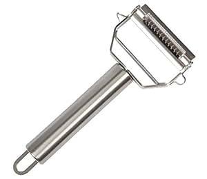 Unves Stainless Steel Dual-use Fruit Vegetable Julienne Peeler & Slicer, Silver