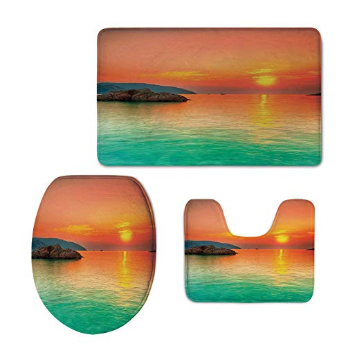 iPrint Fashion 3D Baseball Printed,Nature,Sunset Over The Sea Con Dao Vietnam Sunbeams Colorful Sky Reflection on Water,Orange Mint Green,U-Shaped Toilet Mat+Area Rug+Toilet Lid Covers 3PCS/Set -