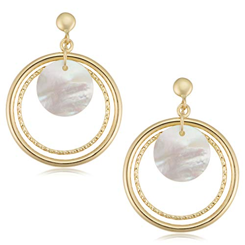 Kooljewelry 14k Yellow Gold Mother of Pearl Triple Circle Drop Earrings