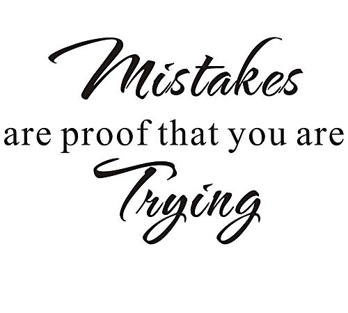 Everysticker4u-Wall Decal Mistakes are Proof That You are Trying School Nursery Education Teacher Classroom Mural Quote Saying Inspirational Vinyl Wall Sticker Decals Transfer Removable Words (Size3)