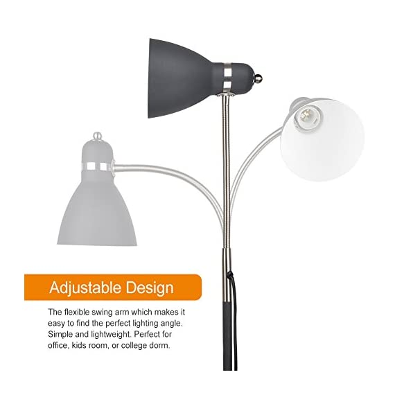 LEPOWER Metal Floor Lamp, Adjustable Goose Neck Standing Lamp with Heavy Metal Based, Torchiere Light for Living Room, Bedroom, Study Room and Office - HIGH QUALITY MATERIAL: The lamp is integrated with high-quality metal lampshade and base, enduring, durable and aesthetic . It's weighted base and sturdy design makes it wobble free and safe to have around children and pets. ADJUSTABLE ANGLE: The flexible gooseneck which makes it easy to find the perfect lighting angle. Brightens your Living Room, Bedroom, Study Room BULB REQUIREMENTS: Bulb is not included in the package. With an E26 sized screw base, the bulb can be installed as desired. To avoid overheating, we suggest you using LED bulb 8W-10W, energy saving bulb 12W-20W, incandescent bulb 20W-40W (40W MAX) - living-room-decor, living-room, floor-lamps - 41mm76R8HvL. SS570  -