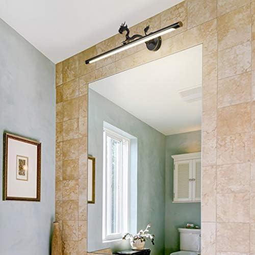 SACYSAC Espejo de baño de luz, Cobre Espejo del Maquillaje de la luz Delantera, Gabinete de baño de Pared de luz, la luz Natural, la lámpara Ajustable Brazo,Negro,58cm