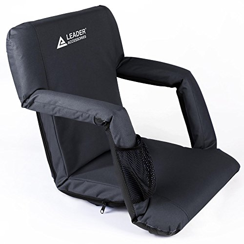 Leader Accessories Stadium Seat Cozy Portable Reclining Seat Folding Bleacher Chair with Arm Rest,Black