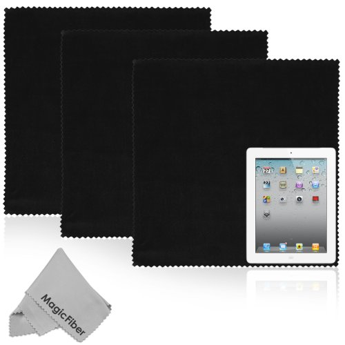 "The BIG MagicFiber® Premium Microfiber Cloths (4 Piece Combo) - 3 Oversized (16 x 16"") and 1 Original (7 x 6"") for Tablet, Smartphone, Laptop, LCD TV Screens, Multicoated Lenses, and Any Other Delicate Surface"