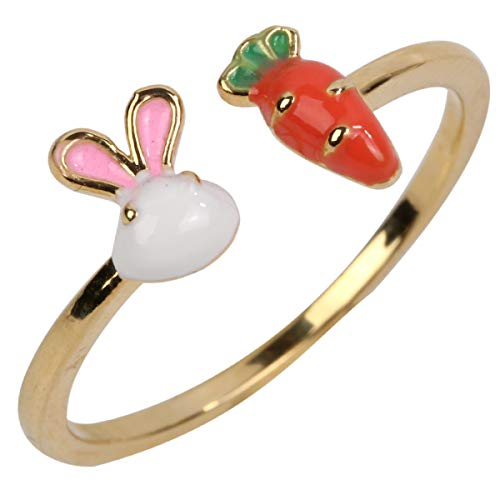 Hiddleston Women's Stretch Rings Easter Bunny Carrot Jewelry Fit Finger Size 7 to 9 ()