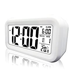 Digital Alarm Clock, eBoTrade LCD Morning Clock with Calendar Thermometer Large Display Smart Nightlight Soft Light Snooze Sleep Backlight White