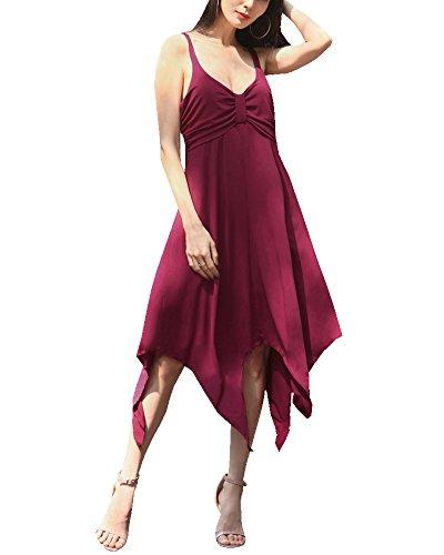Mujer Vestido de Verano V-Cuello Irregular Vestido de Fiesta Mini Playa Vestido Vino Rojo