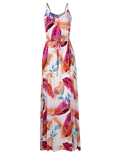 (Leadingstar Women Strap Sexy Bohemian Floral Beach Maxi Dress (Orange Leaf, M))