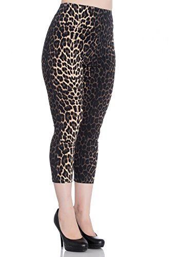 (Hell Bunny Panthera Leopard 50s Vintage Retro Capri Trousers 3/4 Pedal Pushers - (S))