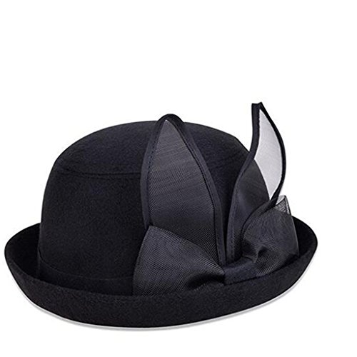 XY Fancy England Style Bowler with Rabbit Ears Winter Roll-up Brim Fedora Hat Black