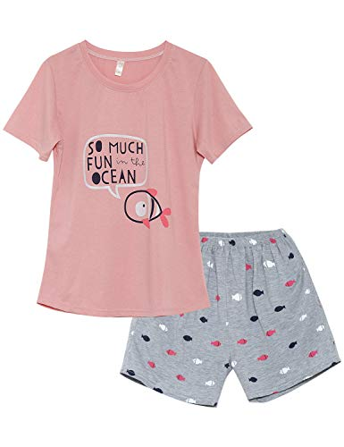 Jashe PJS for Big Girls - Fish Graphic Tee & Shorts Loungewear Cute Summer Nighty Size 14