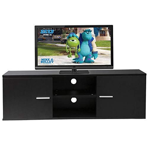 Black 55 Wood TV Stand Media Storage Console Table Cabinet Home Entertainment Center With 2 Cabinets and Shelf