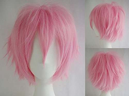 Short Cosplay Synthetic Wig with Bangs Pink 20 Styles Anime Layered Fluffy Hair Oblique Fringe Full Head Unisex for Man and Women Girls (Adult Short Pink Wig)