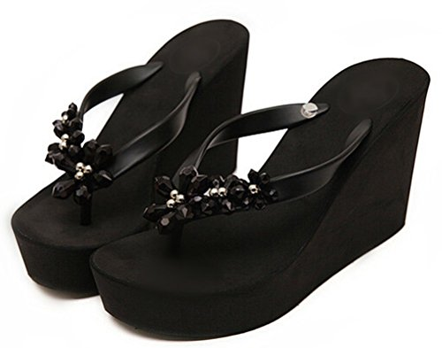JY Womens Floral Gem Sandals Wedge Flip Flops Black US 7(EUR 37)