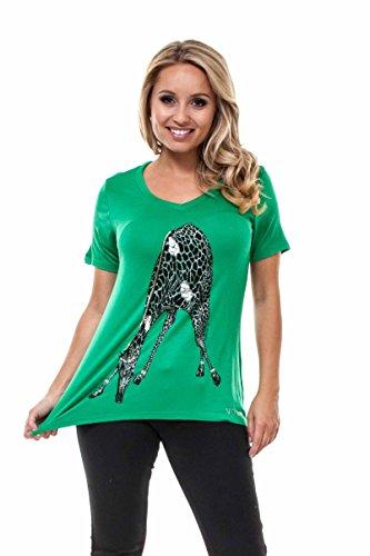 VIRGIN ONLY Women's Animal Print Short Sleeve T-Shirt (Giraffe Green, Size L)