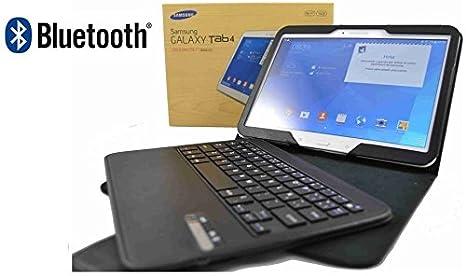 Funda con Teclado Bluetooth extraíble para Tablet en español (Incluye Letra Ñ) Samsung Galaxy Tab 4 10.1