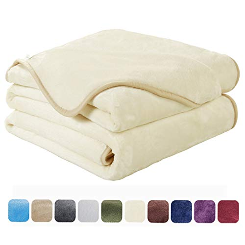 EASELAND Soft Queen Size Summer Blanket Winter Warm Fuzzy Microplush Lightweight Thermal Fleece Blankets for Couch Bed Sofa,90x90 Inches,Ivory (Best Blankets For Bed)