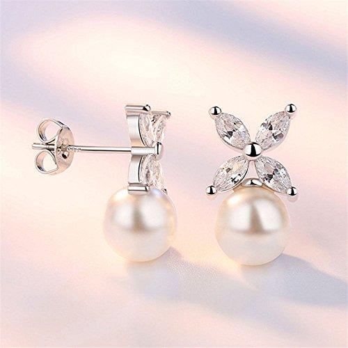 paweena Jewelry Sparking AAA Zircon Stud Earrings Imitation Pearl Flower - Imitation Tiffany