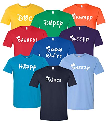 7 Dwarfs Inspired Costumes - Unisex Seven Dwarf Adult Size T Shirts - Perfect for Family Vacation, Cruise, Group Event Matching Shirt ()