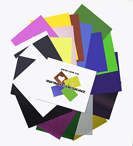 New Gen Co  Heat Transfer Vinyl Sheets 12 X10   20 Premium Sheet Bundle   Most Popular 14 Colors Pu And 6 Glitter   Bonus  Teflon Sheet   Hologram Reflective Sheet