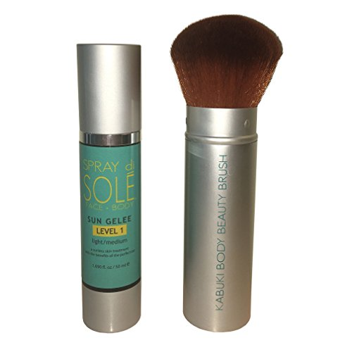 - Spray Di Sole Sun Gelee with Kabuki Body Brush - Organic and Natural Ingredients Sunless Self Tanning Lotion for a Golden Buildable Light, Medium and Dark Gradual Tan for Face and Body